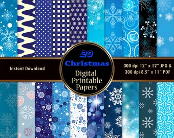 Christmas Scrapbook Paper Pack Printable Christmas Digital Paper Blue White Snowflakes Wrapping DOWNLOAD 12x12 JPG PDF