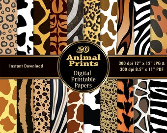 Animal Print Scrapbook Paper Pack Digital Papers 20 Digital Skin Texture DOWNLOAD Printable Zebra Giraffe Cow Leopard Cheetah Tiger 12x12