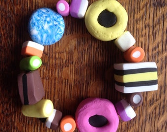 Liquorice Allsort bead bracelet, funky fun and easy to wear. Elasticated.