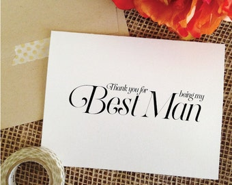 Thank you best man Card THANK YOU for being my best man Thank You Card From the Groom (Sophisticated)