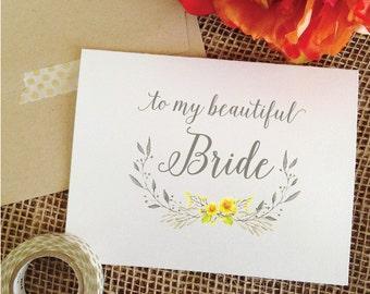Wedding Card to my beautiful Bride Wedding Day Card Yellow and Gray Wedding