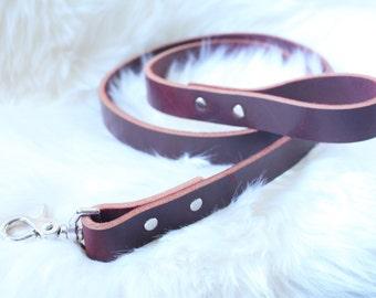 Mahogany leather dog leash