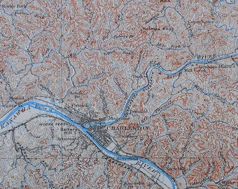 1908 Antique Map: Kanawua River, Elk River, Charleston West Virginia, WV. Topographic. Original Lithograph. Over 100 years Old.