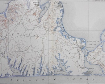 1908 Antique Map: Marthas Vineyard, Massachusetts. Edgarton Harbor, Cape Poge & Katama Bay. Original Lithograph. Over 100 years Old.