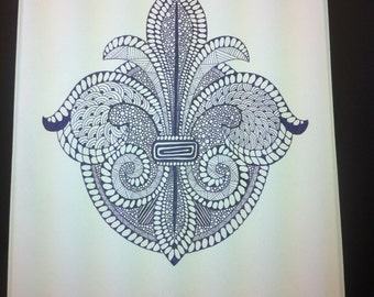 Zentangle Inspired Art-Fleur de Lis drawing