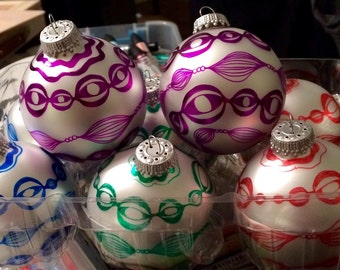 Custom hand-decorated ornaments for Katie
