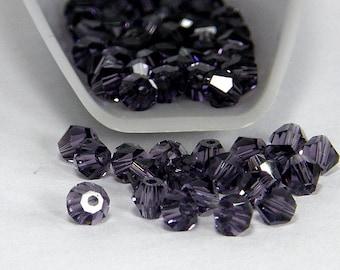 4mm Bicone Crystals, Violet, 25 count