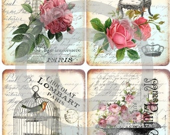 Instant download*digital sheet*old paper*scrapbooking*tags*cards*printable*light french*19