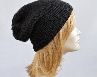 Hand Knit Beanie, Black Hat, Womens Beanies, Slouchy Beanie, Womens Hat, Slouchy Hat, Bonnet Femme, Knitted Hats for Women