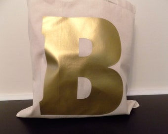 "Gold Letter Initial Tote Bag. Your Initial on this 15""x16"" tote bag"