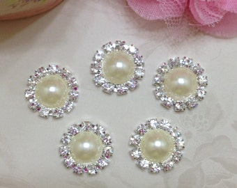 Pearl Rhinestone Button 20mm set of Five -Round Metal Rhinestone Button-Flat Back Rhinestone Button-Rhinestone Button 20mm-Rhinestone Button