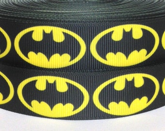 "Batman Grosgrain Ribbon - Super Hero Ribbon 3 yards - 3 yards Batman Grosgrain Ribbon - 7/8"" Batman Logo Grosgrain Ribbon - Batman Ribbon"