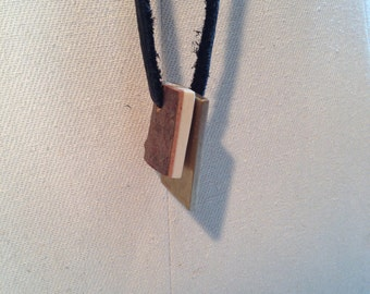 small brass flat wood leather pendant