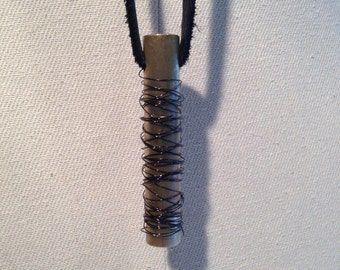 brass wire wrapped vertical pendant with leather cording