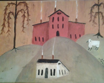 Painting of Primitive Farm.