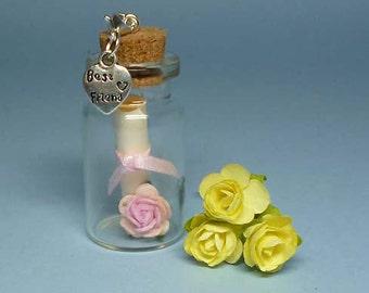 BEST FRIEND Message In A Bottle Gift + Detachable Clip On Charm