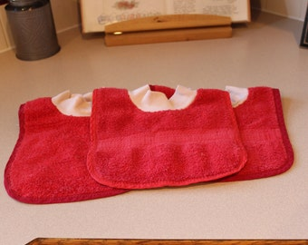 Three Cloth Bibs for Baby or Toddler