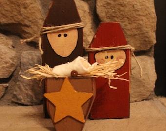 Simple Wood Nativity Set