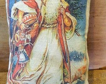 Primitve Victorian Santa Belsnickel Handmade Tea Dyed Feed Sack Pillow - Cupboard Tuck