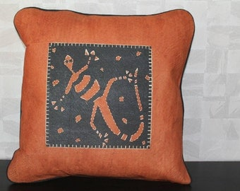 Bark cloth cushion cover