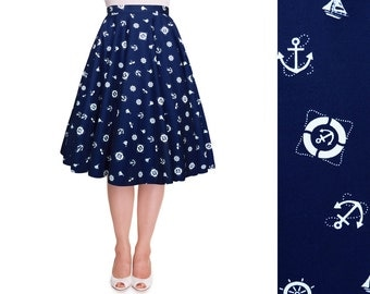 Full Circle Skirt Nautical Skirt Navy Anchor Swing Skirt Pin Up Skirt Rockabilly Clothing 50s Retro Party Pinup Dress Plus Size Clothing