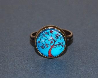 Ring adjustable red Celtic tree