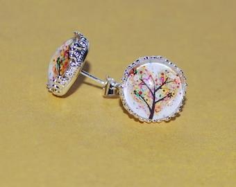 Tree multicolor heart earrings
