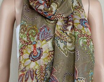 Khaki leisure cotton scarf, restore ancient ways totem cashew printed scarf, shawl, collar