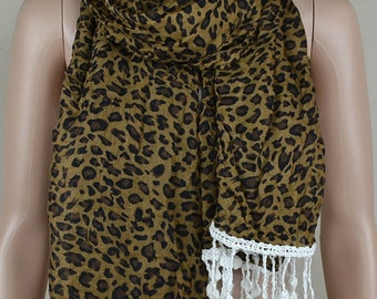 Brown leopard print scarf, white lace fringe scarf, natural drape scarf, collar