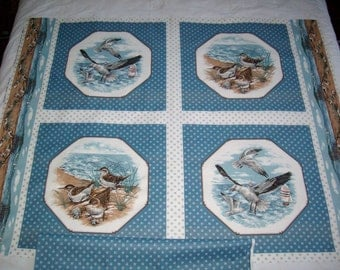 """VIP """"Shore Birds Collection"""" pillow print,vintage fabric,1 yard w/ matching yard,wall hanging,quilt"""
