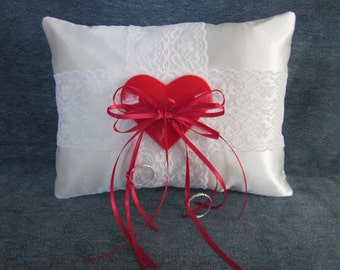 "Wedding ring pillow,white satin,red heart,valentine,lace,6""x8"""