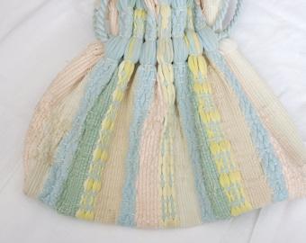 Pastel Vintage Handmade Nylon Woven Pouch Purse Handbag 60s 70s M-501