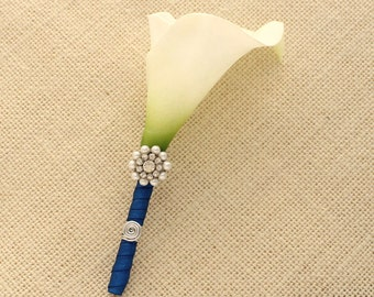 Groom Boutonniere. Real Touch Calla Lily Boutonniere. Wedding Grooms Groomsmen Boutonnieres Flower Pin.