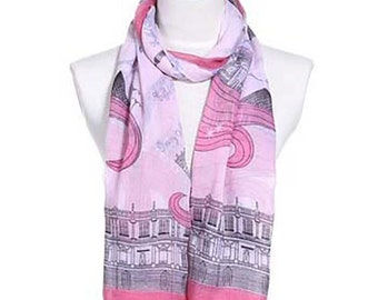 Womens Scarf, Pink Scarf, Gray Scarf, Floral Print Scarf,  Fashion Scarf, Chiffon Scarf, Voile Scarf, Cotton Scarf