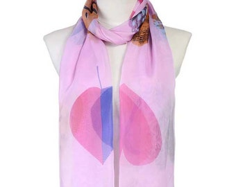 Womens Scarf, Floral Print Scarf, Pink Scarf,  Fashion Scarf, Chiffon Scarf, Voile Scarf, Cotton Scarf