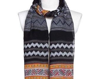 Womens Scarf, Gray Scarf, Floral Print Scarf, Fashion Scarf, Chiffon Scarf, Cotton Scarf