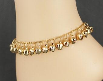 Jingly bells anklet ankle bracelet jingle bell adjustable gold tone