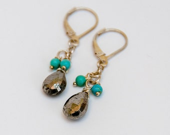 Silver pyrite with turquoise sterling briolette drop earrings