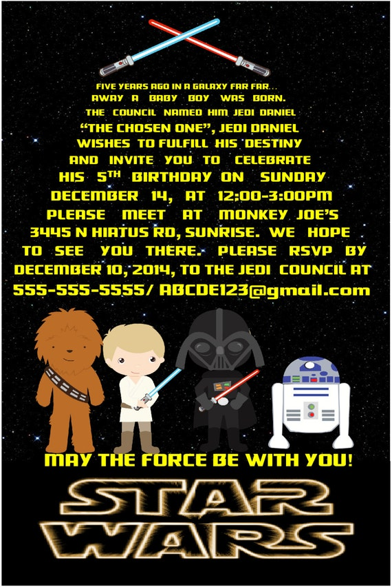 Star Wars Einladung Geburtstag Partei Digital Einladung 4