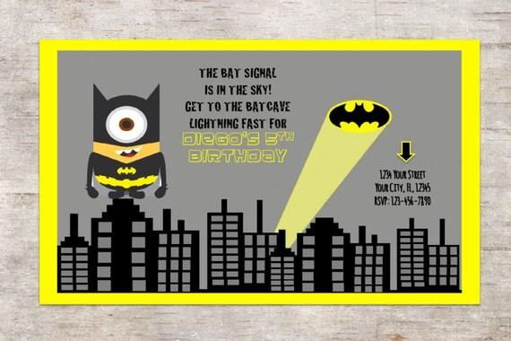 Festa di compleanno di miNION Batman invito invito