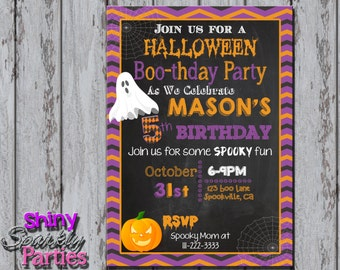 Printable HALLOWEEN BIRTHDAY INVITATION - Halloween Party Invitation - Halloween Boo-thday Party Invitation - Fall Birthday Invite