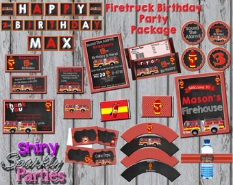 Printable FIRETRUCK PARTY PACKAGE - Firefighter Party Package - Firetruck Birthday Party Package - Fireman Party Pack With or Without Invite
