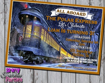 Printable POLAR EXPRESS INVITATION - Polar Express Birthday Invitation - Christmas Train Invite - Winter Birthday Invitation