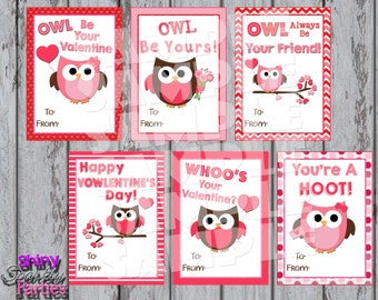 OWL VALENTINES   Printable Owl Valentine Cards   Classroom Valentines    Valentines For School Valentines For