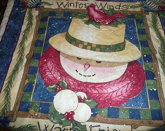 Daisy Kingdom Winter Winds, Warm Friends Quick Quilt Fabric Wall Hanging Panel Shipping Included