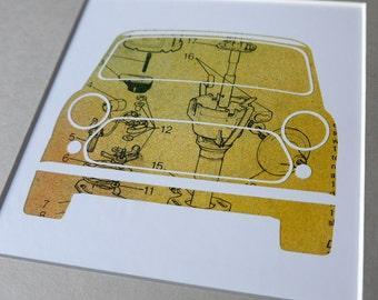 Mini Distributor - Unique, Original Framed Austin Rover Mini Artwork - Made from vintage car workshop manual