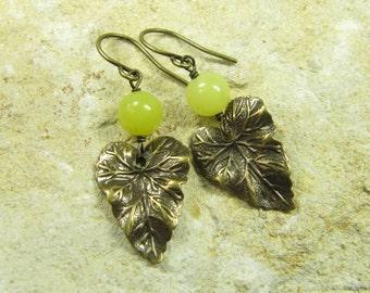 Earrings Lemon Leaves, Leaf Earrings, Jade Earrings, Earrings Eardrops Brass Bronze Leaf Leaves, Jade Beads Yellow, Vintage Style Handmade