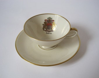 Fine bone china vintage collectable souvenir tea cup from Hamburg, Germany with gilt edges