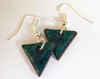 dangle earrings, triangle, triangular earrings, ceramic jewelry, dark blue, lightwaight, triangle jewelry, fashion