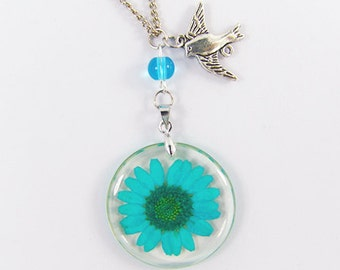 real pressed flower necklace pressed flower charm necklace real flower jewelry -with gift box